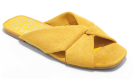 Damen dv Gelb Addie Microsuede Verknotet Slide Sandalen