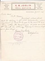 U.S. E. W. Joslin Hugoton Kansas 1905 Real Estate  Paid Invoice Letter R... - $7.55