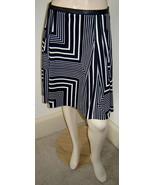 CALVIN KLEIN Black/White Geometric Stripe Pleated Stretch Knit Full Skir... - $19.50