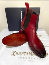 Handmade Men's Burgundy Burnished Toe High Ankle Chelsea Leather Boot image 5