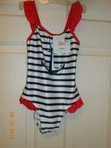New one piece swimsuit size 5T anchor ruffles design Hello Summer striped - $9.89