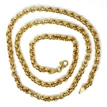 """18K YELLOW GOLD CHAIN 17.70"""" INCHES 45cm, BIG ROUND CIRCLE ROLO THICK 4 MM LINK image 3"""