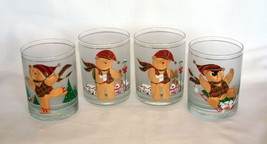 4 Vintage Culver Christmas YULE BEAR 22K Gold Trim Frosted Glasses Tumblers NIB - $38.99