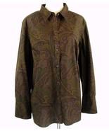 CHAPS Size 2X Autumn Paisley Button Down Top Shirt Blouse - $21.99