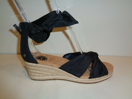 UGG Australia Size 7 STARLA Black Leather Jute Wedge Sandals New Womens ... - $117.81