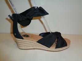 UGG Australia Size 7 STARLA Black Leather Jute Wedge Sandals New Womens ... - $117.81