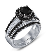 10k White Gold Plated 925 Silver Round Cut Black Diamond Bridal Wedding ... - $93.05
