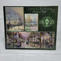 Thomas Kinkade Painter of Light Set of Three Jigsaw Puzzles Winter Church Cars - $39.99