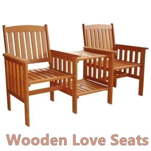 Wooden Love Seat Solid Garden Patio Pair Of Armchairs Set  & Side Table Compact