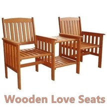 Wooden Love Seat Solid Garden Patio Pair Of Armchairs Set  & Side Table ... - $149.06