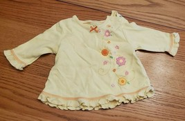 Carter's Just One Year 3M Yellow Top With Flowers - $3.99