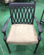 Patio dining chairs set of 6 cast aluminum furniture Tuscany sunbrella cushions image 2