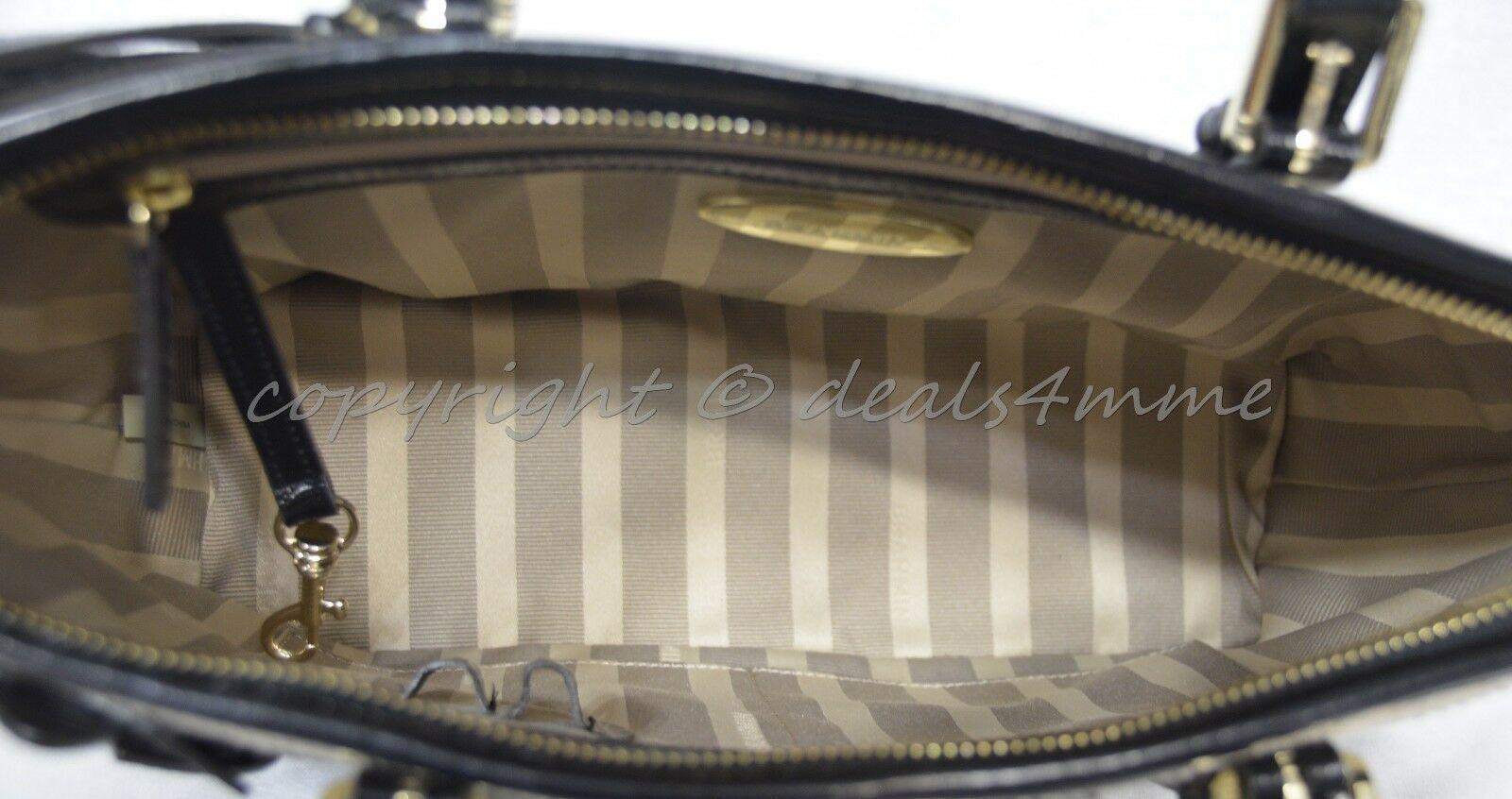 NWT Brahmin Mini Asher Satchel/Shoulder Bag in Black Miramonte-Cream with Black image 6