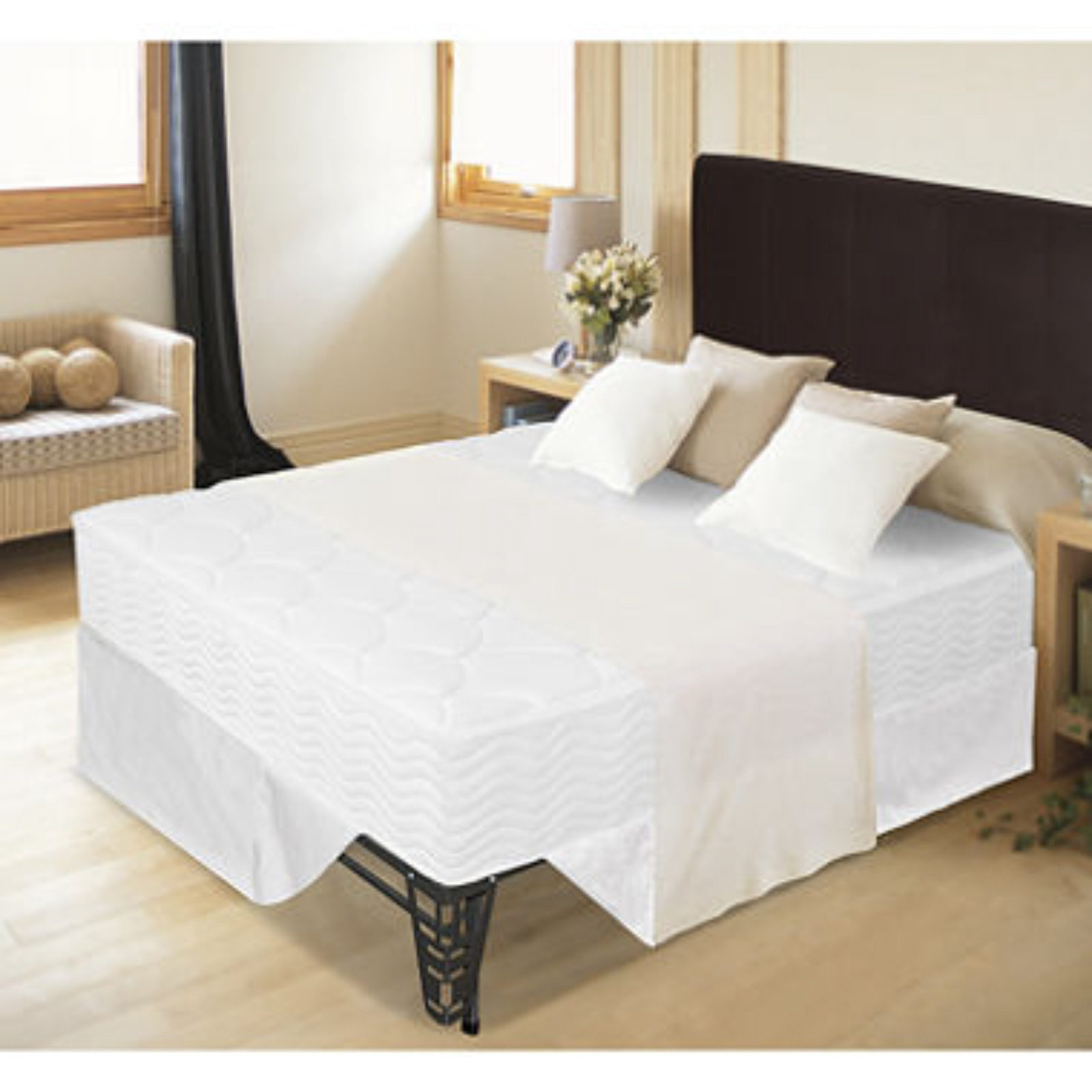 8 tight top spring mattress bed frame set twin size for Twin size bed frame and mattress set