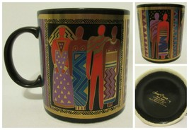 Vintage Laurel Burch Tribal Spirit 1988 Made In Japan Mug Black Gold Mul... - $14.82