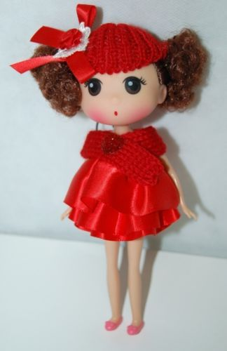 Red Key Chain Doll With Ruffled Satin Ribbon Dress Knit Hat Scarf