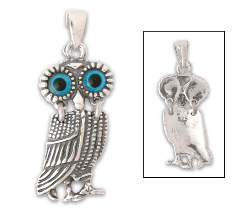 Goddess Athena's Wise Little Owl - Sterling Silver Pendant - A