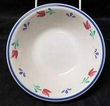 "Design Concepts Cereal Bowls Set of 4, 7"" Soup Bowls, White, Blue Trim Tulips image 3"