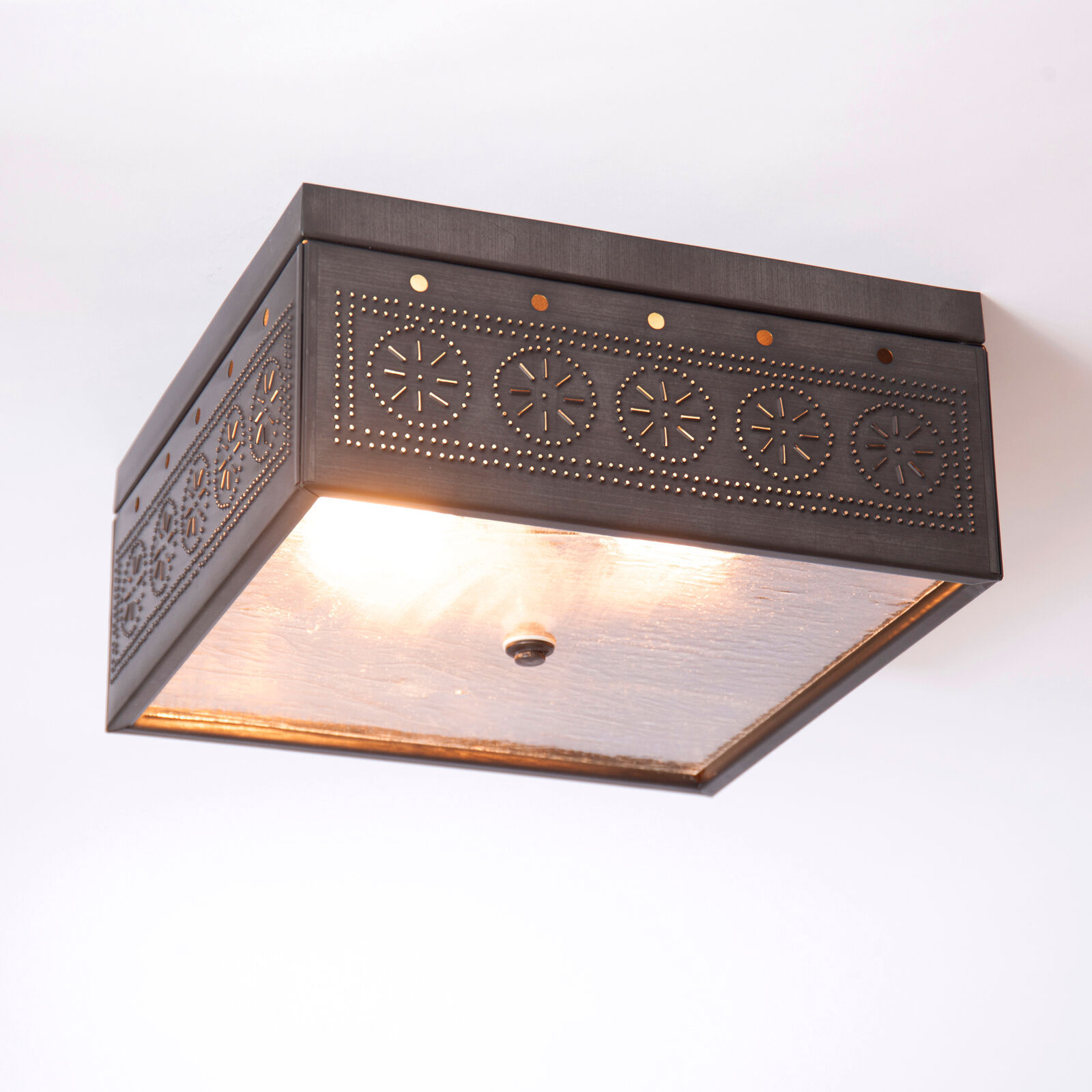 Primary image for CEILING LIGHT Kettle Black Tin Square Pierced & Seedy Glass in Chisel Pattern