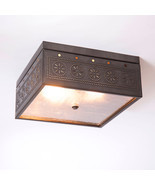 CEILING LIGHT Kettle Black Tin Square Pierced & Seedy Glass in Chisel Pa... - £92.99 GBP
