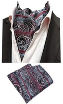 MOHSLEE Men Silver Red Paisley Striped Cravat Ties Woven Ascot Pocket Square Set
