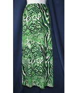 XL Victor Costa Green Animal Print Long Skirt B... - $14.00