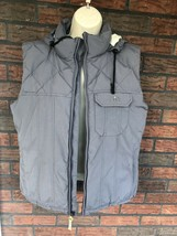 Burton Radar Goose Down Vest Medium Gray Sleeveless Jacket Hoodie 3 Pockets - $24.50