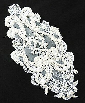 Primary image for Vintage lace applique Venetian bridal lace beads white patch