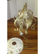 Vintage Glass and metal ceiling light Salvaged from 1920 Home. Hall Foyer - $275.00