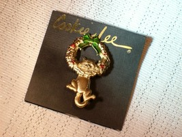 Cookie Lee Christmas Wreath with Kitty Brooch - Great Item, New! image 5