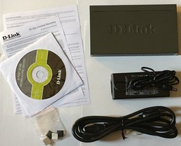 BRAND NEW D-LINK 8-PORT METAL SWITCH DES-1009PA/RE WITH CHARGER, FREE SH... - $39.59