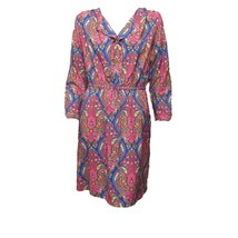 Merona Womens Pink Blue Gold Paisley Long Sleeve V Neck Mini Shirt Dress L - $13.88