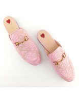 New GUCCI Size 9 PRINCETOWN Pink Lace Mules Flats Shoes 40 Eur - $698.00