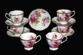 10 Pc VTG Royal Albert AMERICAN BEAUTY Shabby Rose Gold Bone Cups Saucer... - $74.99