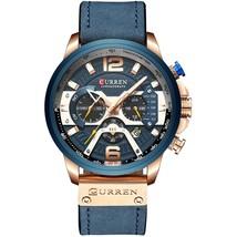 Curren Men's Leather Chronograph Wrist Watch 8329 (Blue) - $42.00