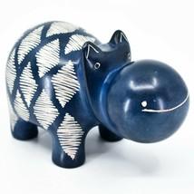 "Hand Carved Kisii Soapstone ""Diamond Dash"" Blue Hippopotamus Hippo Figure"