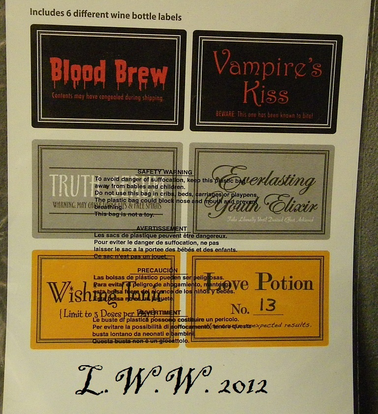 6 Halloween Wine Potion Bottle Labels Blood Vampire Love Potion Truth Serum
