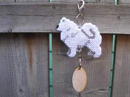 Samoyed dog crate tag or home decor, hang it anywhere, hand stitched by ... - $19.00