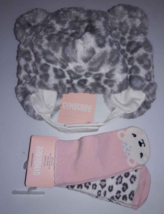 Gymboree Gray SNOW LEOPARD Faux Fur Trapper Hat Baby Girl & 2 Pair Socks 6-12 mo - $6.92