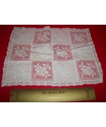 Home Treasure Linen Table Decor Rectangular Set Doily Doillie Rose Squar... - $16.62