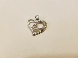 Antique Vintage Sterling Silver 925 Cubic Zirconia Hearts Pendant - $50.00