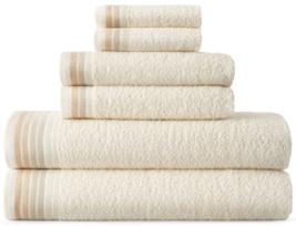 6 PC Ivory Cotton Towel Set ❤ 2 Bath+2 Hand+2 Face Towels - Easy Care - $28.49