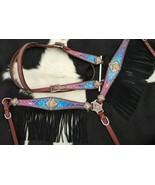 Western Saddle Horse Bling! Unicorn Leather Tack Set Bridle + Breast Collar - $97.81