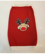 Top Paw Pets Dog Sweater size Large Red Reindeer Embroidered Holiday Swe... - $7.92