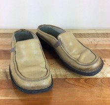 Merrell Air Cushion Tetra Slides Loafer Golden Tan Leather Womens Size 9 - $21.49