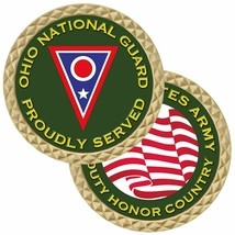 "OHIO NATIONAL GUARD ARMY PROUDLY SERVED 1.75"" CHALLENGE COIN - $17.14"