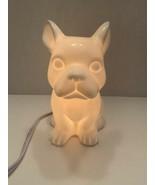 "Bulldog dog Night Light Table Lamp Soft Light Puppy White Ceramic 7"" - $16.50"