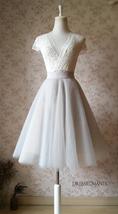 White Tulle Midi Skirt Women Knee Length White Tutu Skirt Outfit Street Style image 12