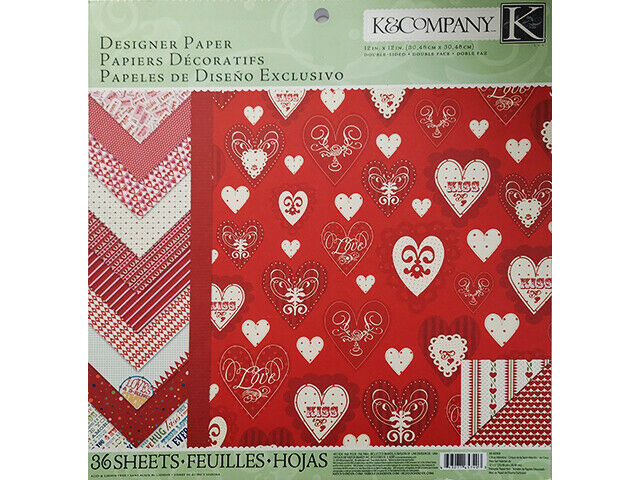 K&Company Circus Valentine 12x12 Cardstock Stack, 26 Double-Sided Sheets