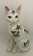 Ceramic Sitting Cat with Hand Painted Flowers  - $49.49